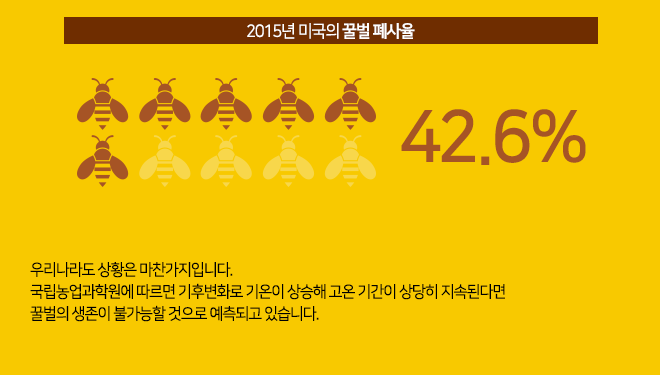 미국 2015년꿀벌 42.6%가 폐사율